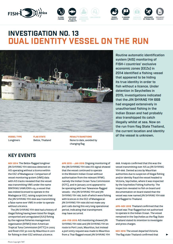 Dual identity vessel on the run