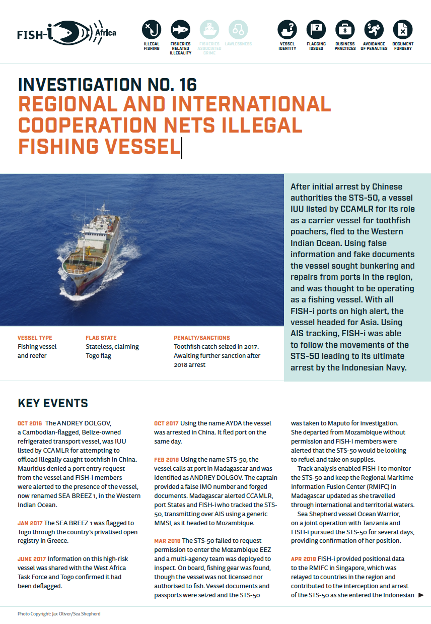 Regional and international cooperation nets illegal FISHING VESSEL